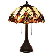 "Bieye Tiffany Style Stained Glass Victorian Table Lamp Handmade 16""W 22""W, Brown"