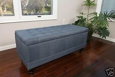 Large Tufted Storage Ottoman Blue Linen Fabric Bench Foot Rest Coffee Table