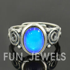 Sterling Silver Oval Mood Ring With Intricate design Multi Color Change retro