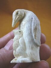penguin-9) Mama Penguin baby bird of shed ANTLER figurine Bali detailed carving