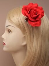 large classy fabric red rose flower for hair on clip