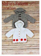 CROCHET PATTERN for BABY HOODED JACKET Newborn, 0-3, 3-6, 6-9, 9-12mth #206
