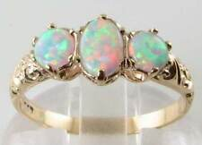 QUALITY  9K GOLD VINTAGE INS AUS OPAL TRILOGY RING FREE RESIZE