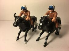 "2 Police Officers Cop Riding a Horse And A Bull Wind Up Toys 4.5"" Tall"