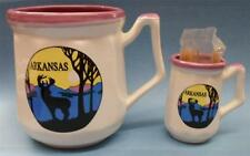 2 Piece Ceramic Arkansas Sunrise w/Deer Set, Coffee Cup,Toothpick Holder