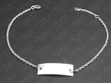 925 Sterling Silver Identity ID Bracelet Bar / Name Plate Personalised Tag Chain