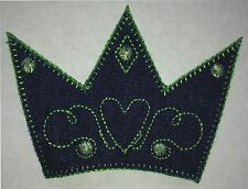"""3"""" x 4"""" Blue Denim Crown Green Heart Embroidery Applique Iron On Sew On Patch"""