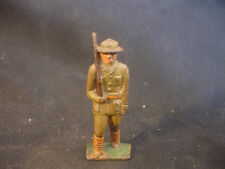 Old Vtg Cast Iron Toy Military Soldier Rifle W/Helmet Train Garden Figure