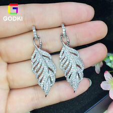 Feather Leaf Handmade Cubic Zirconia Women Engagement Silver Dangle Earring Stud