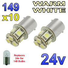 10 x Warm White 24v LED BA15s 149 R5W 8 SMD Side Plate Interior Bulbs HGV Truck