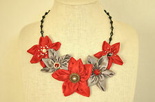 Statement Necklace Red Silver Daisy Fabric Floral Upcycled Handmade Crystal Bead