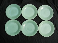 SIX JADITE FIRE KING JANE RAY DINNER PLATES JADEITE IN GOOD USED CONDITION