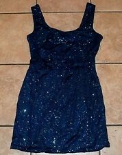 LOVE REIGN~BLUE Fitted Sequins DRESS~size LARGE~NEW~COCKTAIL Mini Short Sparkle