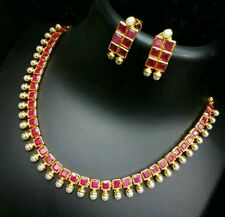 Trendy n stylish pink stone  studded jewellery set with beautiful earrings