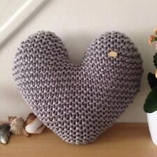 Handmade Hand Knitted Silver Grey Heart-Shaped Decorative Cushion