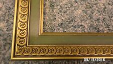 """1211M Vtg 60""""s-70's 8x10 Green & Gold Picture Frame ALL WOOD Wall Hang EXC COND"""