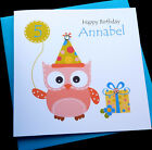 Handmade Personalised Owl Childrens Birthday Card