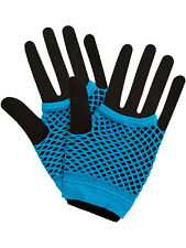 Blue Hot Colours Short Fish Net Fingerless Gloves 80's Party Wear Goth