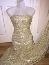 "5 MTR GOLD DISCO SEQUIN FABRIC...45"" WIDE £12.50 SPECIAL OFFER"