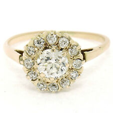 Antique Victorian 14K Rose Gold 1.0ctw Old European Diamond Solitaire Halo Ring