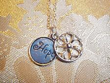 "18 inch Silver Plated Cable Chain Necklace w/ Blue DUEL ""Hope"" FLOWER Charm K-72"