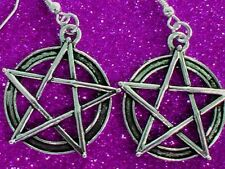 Free Shipping Wiccan Pentagram Silver Plated Earrings California Wicca USA g av