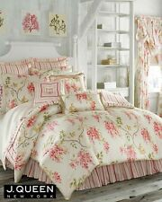 (1) J Queen AVERY Euro Sham Shabby Chic French Country Pink Coral Ruffle Stripe