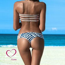 New Design Reversible Bikini Set Sexy Brazilian Strapless Bandeau Style Size L
