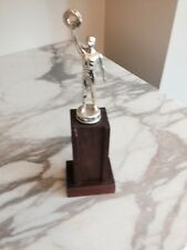 Vintage Metal Trophy on a wood base No Plaque Unmarked