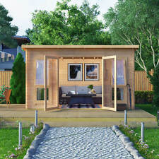 Modern Pent Style Single Room Log Cabin Summer House Outdoor Wooden Shed 10x8
