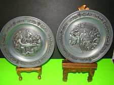 Vintage PAIR OF 3D EMBOSSED FIGURES GERMAN PEWTER DECORATIVE WALL HANGING PLATES