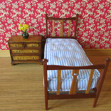 Bed ~ SINGLE ~ MAHOGANY & CHERRY WOOD ~ & mattress ~ Dollhouse Miniature~1:12