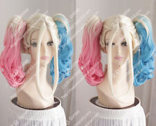 new wig Free shipping Harley Quinn blue and pink medium curly hair cosplay wig