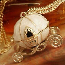 Stylish Vintage Magical Cinderella's Pumpkin Carriage Long Necklace Can Open FG