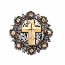 "Cross Berry Concho Silver with Rose Gold All Metal 1"" 1736-NG"