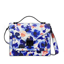 LOEFFLER RANDALL $475 INK FLORAL LEATHER MEDIUM RIDER BAG HANDBAG