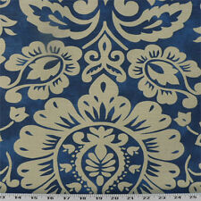 Drapery Upholstery Fabric Cotton Slub Mottled Linen-Look Floral Damask - Navy