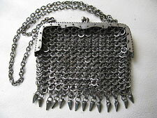 Antique Victorian Silver T Fancy Fringe Armor Chain Mail Mesh Coin Purse #31