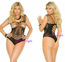 PLUS SIZE Thong Back CROCHET TEDDY Floral Lace CUT-Out Strappy w/SPANDEX Queen
