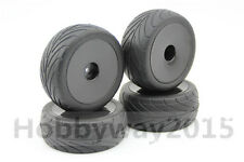 Pre-Glued 4pcs 1/10 Buggy On-Road Tires Black Dish For 1/10 4WD Buggy