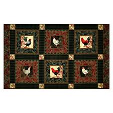 "23"" Fabric Panel - Riley Blake Penny Rose French Rooster Blocks Green"