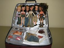 Lot Bratz Dolls 4 girls 2 boys Carrying Case clothes shoes accessories
