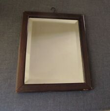 ANTIQUE VICTORIAN BEVELED MIRROR BROWN WOODEN FRAME WITH HOOK ON TOP