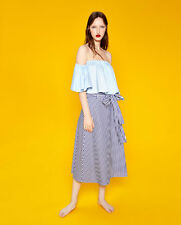 ZARA STUDIO STRIPED BLUE WHITE MIDI SKIRT, SIZE S-BNWT RP £39.99