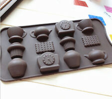 Silicone Tea Cup Clock Chocolate Cake Cookie Mould Baking Tray Biscuit