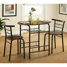 Bistro 3 Piece Dining Set Dinette Table Chairs Nesting Pub Bar Kitchen Furniture