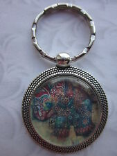 Elephant Keyring round glass cabochon antique silver style gift