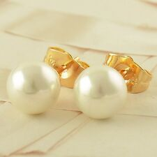 24K Yellow Gold Filled 8mm Big PEarl Stud Women's Girls Fashion Round Earrings
