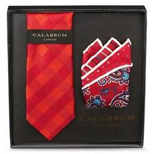 CALABRUM London Men's 100% Silk Neck Tie+Pocket Square Handkerchief Gift Set~Red