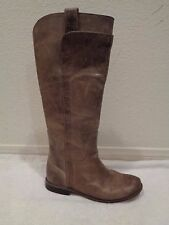 FRYE Paige taupe brown gray leather riding knee high tall boots flat 6.5